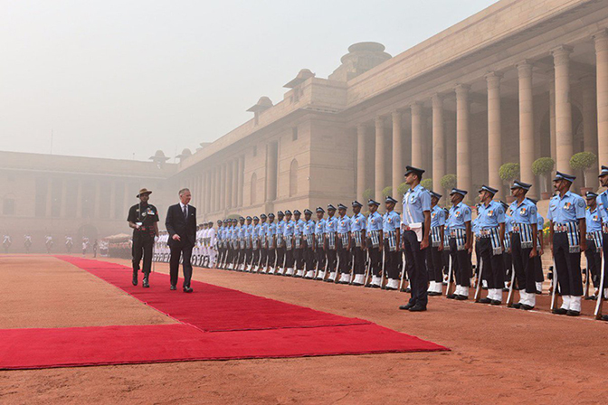 Belgium's King Philippe receives a ceremonial welcome