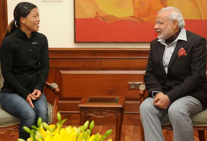 Prime Minister Narendra Modi with Mary Kom