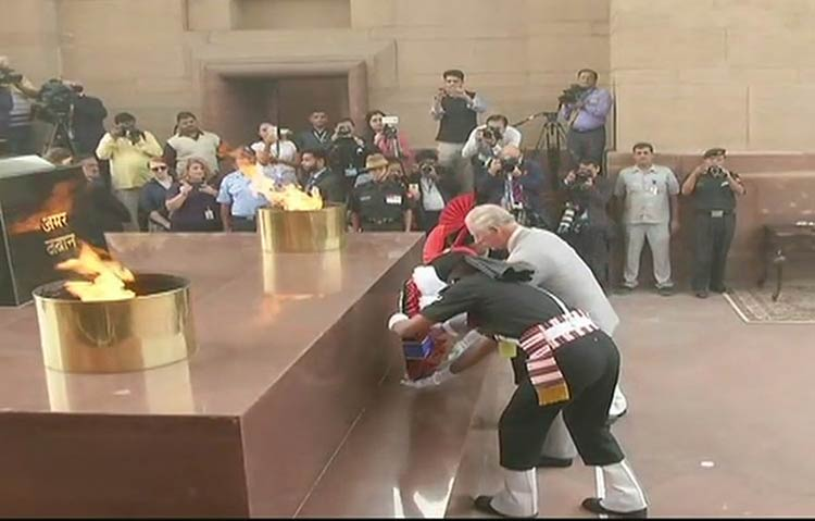 Prince of Wales Charles pays tribute to the martyrs at Amar Jawan Jyoti