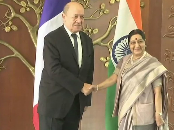 Sushma Swaraj  welcomes French Minister Jean-Yves Le Drian