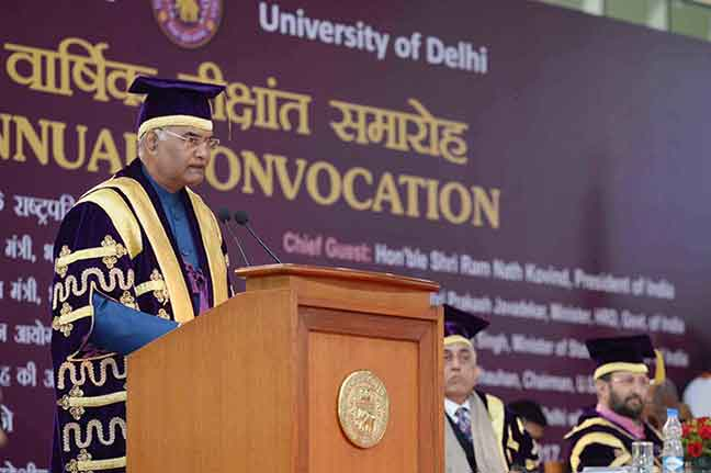 President Ram Nath Kovind addressing the 94th annual convocation of the University of Delhi