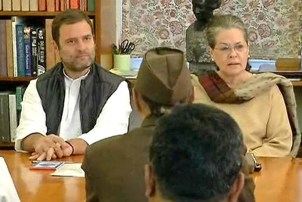 Congress President Sonia Gandhi and Congress VP Rahul in the meeting