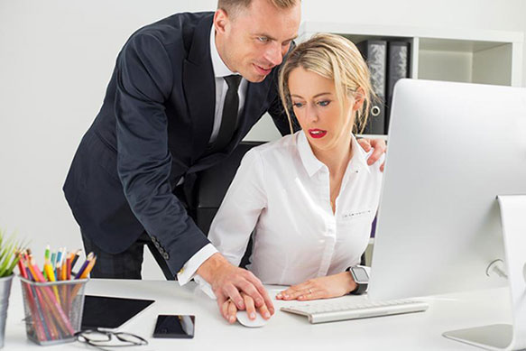 """harrassment at work Sexual harassment it is unlawful to harass a person (an applicant or employee) because of that person's sex harassment can include """"sexual harassment"""" or unwelcome sexual advances, requests for sexual favors, and other verbal or."""