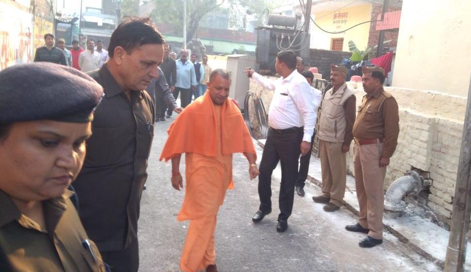 Uttar Pradesh Chief Minister Yogi Adityanath arrives at a polling station in Gorakhpur