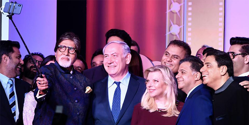 Benjamin Netanyahu clicking a selfie with Bollywood Celebrities