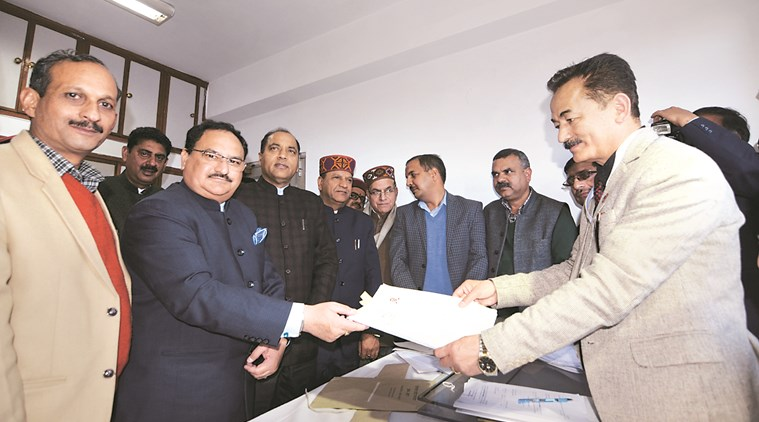 Union Health Minister J P Nadda files his nomination at Vidhan Sabha in Shimla