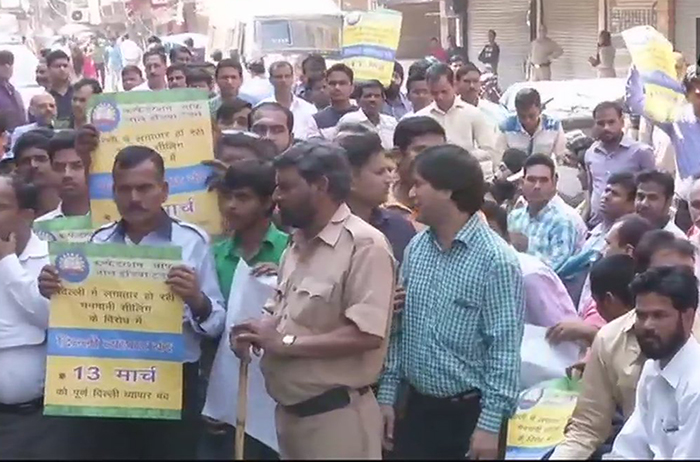 Traders stage protest