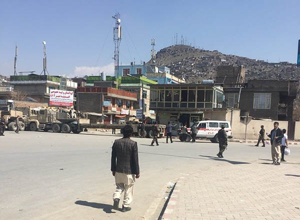 Security forces at incident site in Kabul