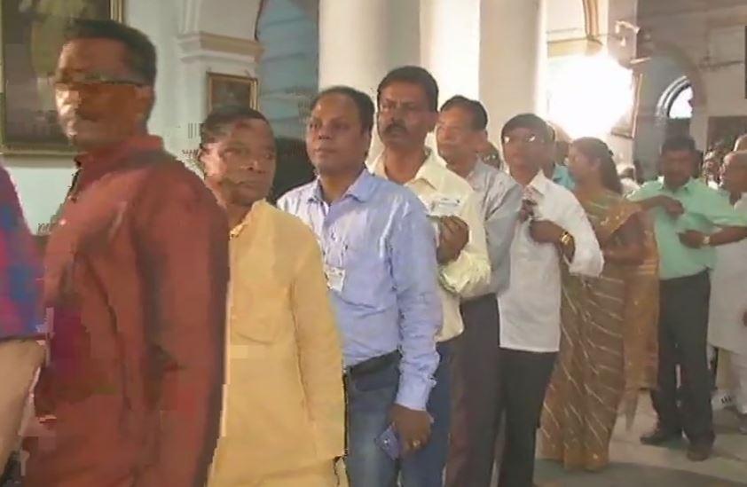 MLA standing in the queue for Rajya Sabha voting