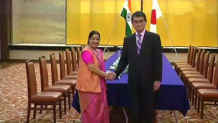 EAM Sushma Swaraj meets her Japanese countepart Taro Kono