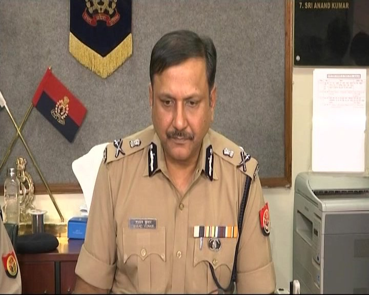 Additional Director General Police (ADG) Law and Order Anand Kumar addressing a press conference