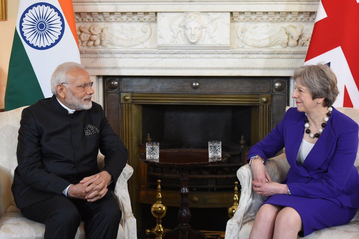 Prime Minister Narendra Modi meeting with United Kingdom Prime Minister Theresa May