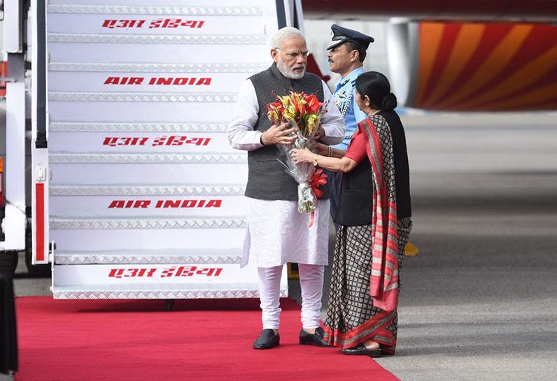 PM Modi received by Sushma Swaraj
