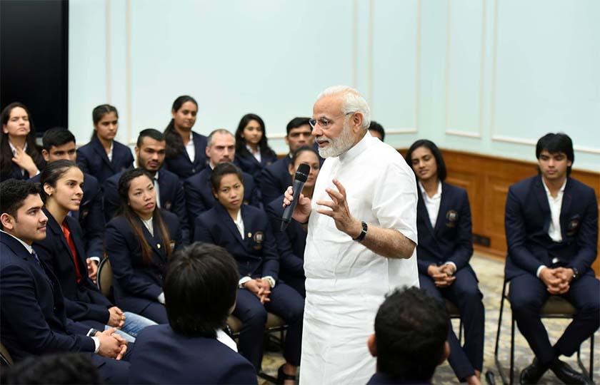 PM Modi interacting with Commonwealth winners in New Delhi