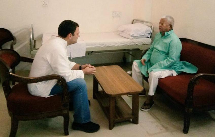 Congress President Rahul Gandhi meets Lalu Prasad