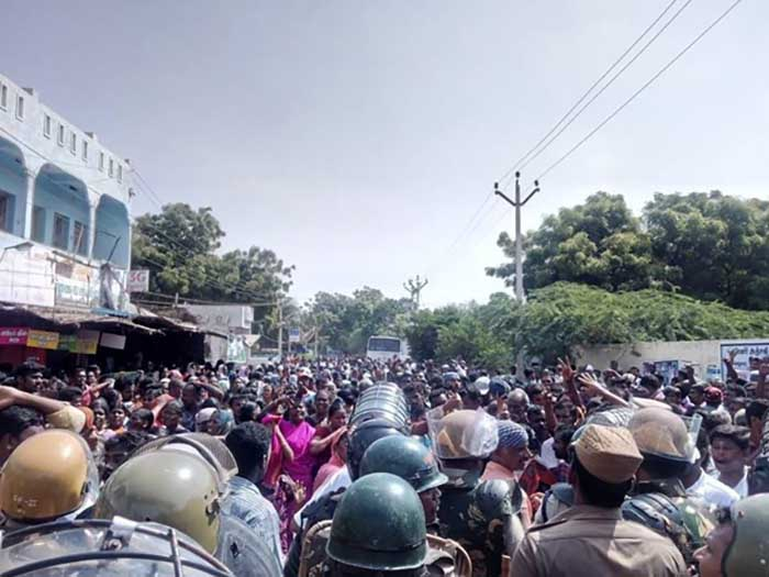 Protest against Sterlite industries in Thoothukudi