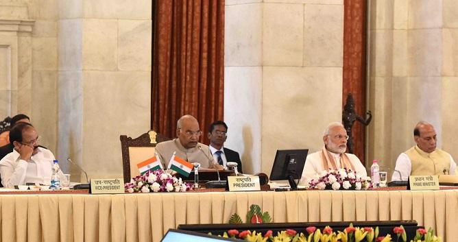 PM Narendra Modi, President Ram Nath Kovind, Vice President Venkaiah Naidu and HM Rajnath Singh at Rashtrapati Bhavan