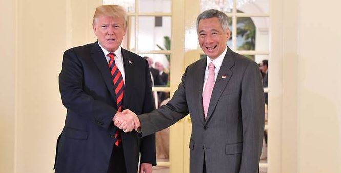 US President Trump meets Singapore PM  Lee Hsien Loong