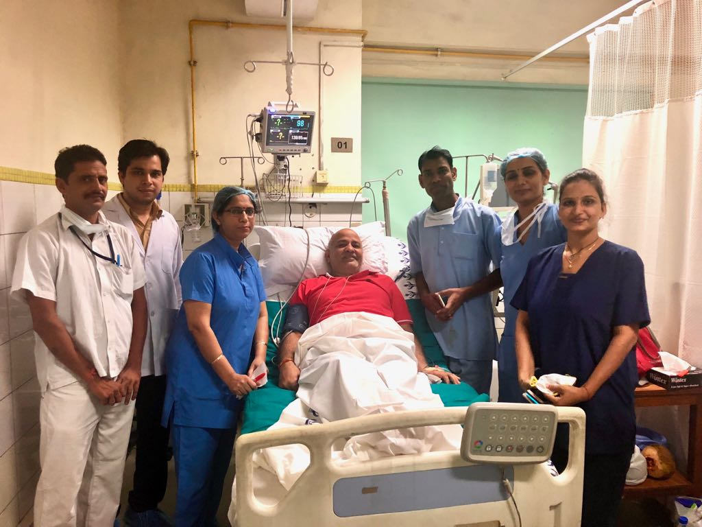 Delhi Deputy Chief Minister Manish Sisodia in the hospital