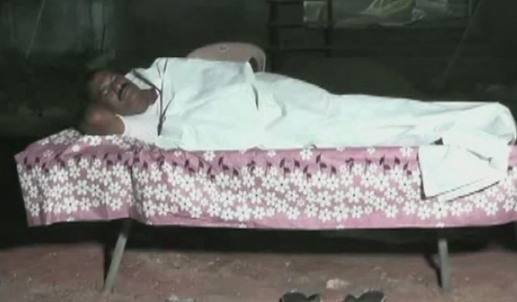 Telugu Desam Party (TDP) MLA Nimmala Rama Naidu sleeping in a graveyard in Palakole