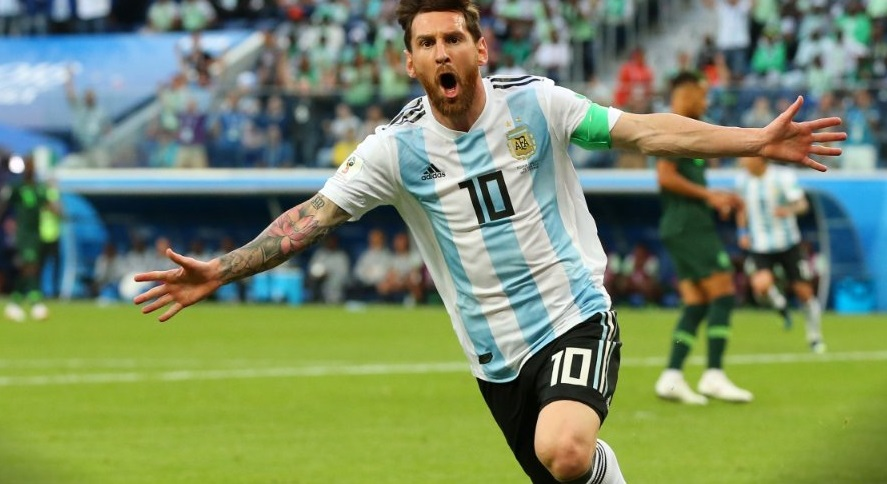 Star footballer Lionel Messi celebrating in win as his team enters round of 16