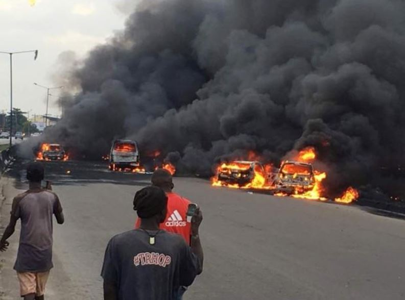 A site of an explosion which took place in  Lagos