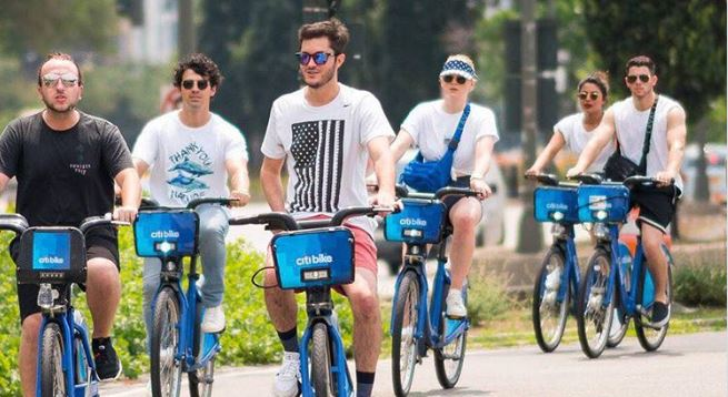 Priyanka and Nick went cycling with the singer's brother Joe Jonas