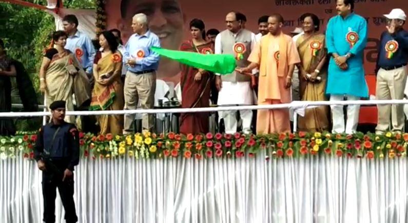 UP CM Yogi Adityanath flags of awareness rally on the World Population Day