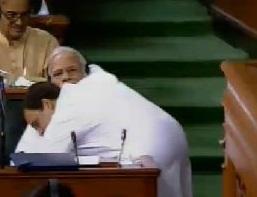 Rahul Gandhi hugs PM Modi