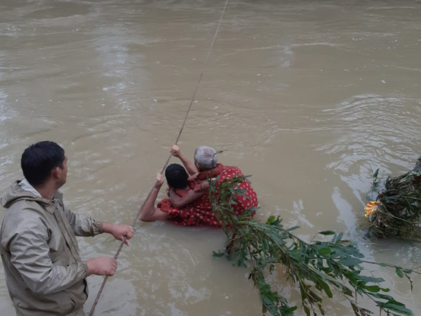 Rescue operations being carried out in Burla locality of Sambalpur district