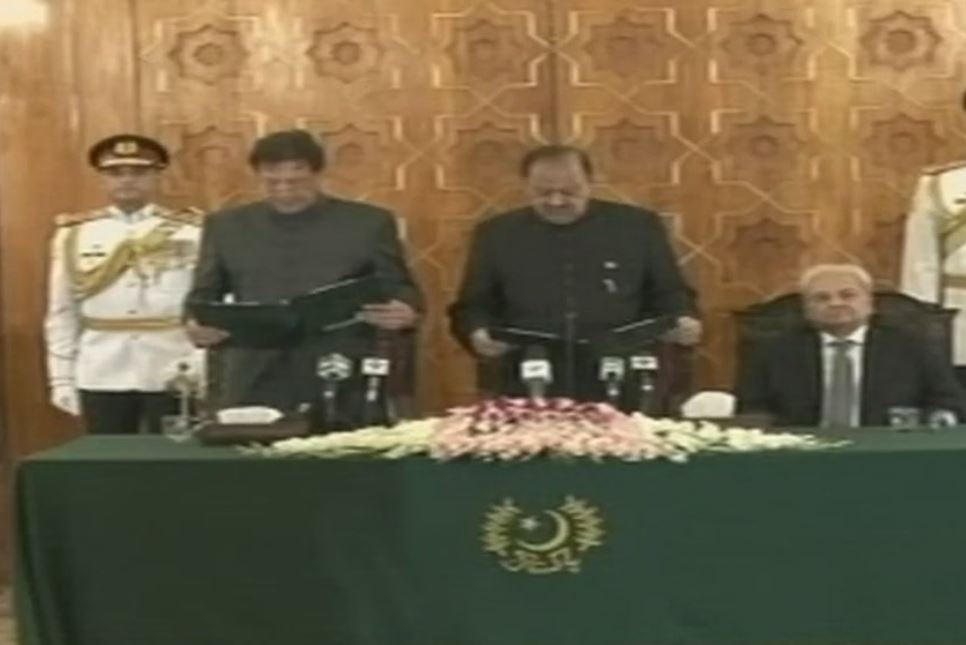 Imran Khan taking oath as the 22nd Prime Minister of Pakistan