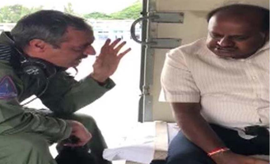 Karnataka Chief Minister HD Kumaraswamy conducting an aerial survey