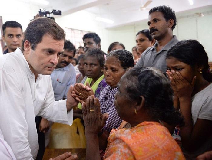 Rahul Gandhi meeting flood affected people in Kerala