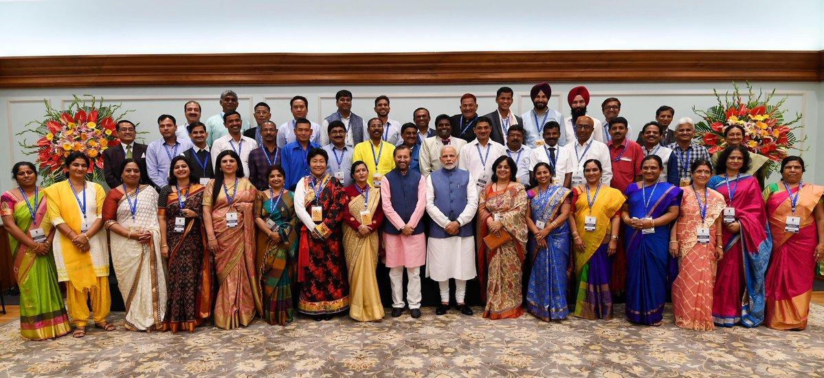 Prime Minister Narendra Modi with award winning teachers
