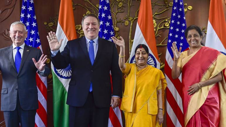 EAM Sushma Swaraj and Defence Minister Nirmala Sitharaman with US Secretary of State Michael R Pompeo and Defence Secretary James Mattis