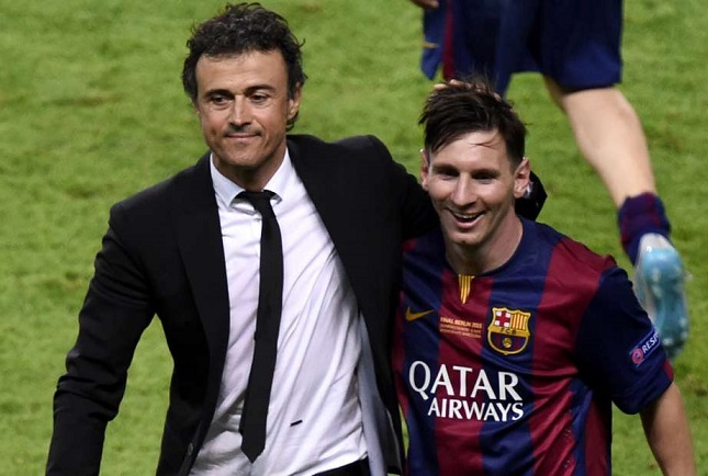 Luis Enrique with Lionel Messi