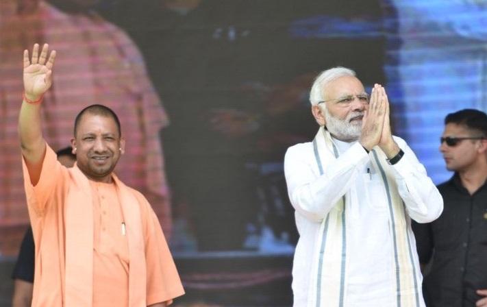 Uttar Pradesh Chief Minister Yogi Adityanath with Prime Minister Narendra Modi