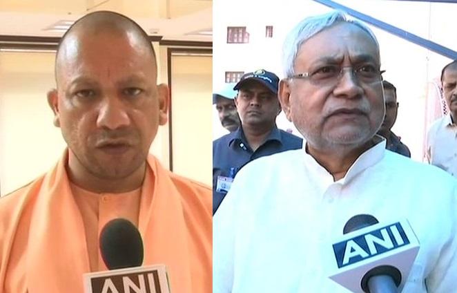 Uttar Pradesh Chief Minister Yogi Adityanath and Bihar Chief Minister Nitish Kumar