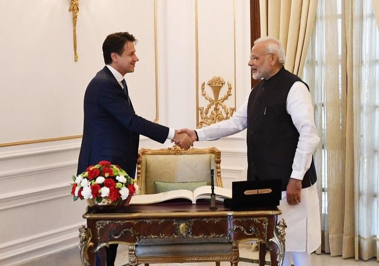 Prime Minister Narendra Modi with Italian counterpart Giuseppe Conte