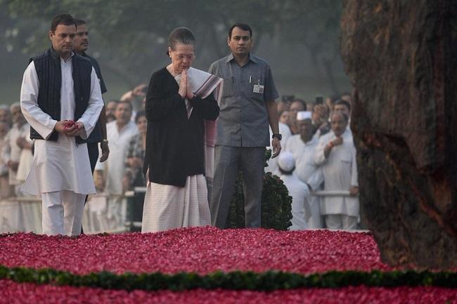Congress President Rahul Gandhi and Sonia Gandhi paying floral tribute at Shakti Sthal, the memorial of former PM Indira Gandhi