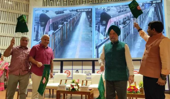 Shiv Vihar -Trilokpuri section of Delhi Metro's Pink Line  flagging off  by Union Minister of Housing and Urban Affairs Minister Hardeep Singh Puri and Manish Sisodia