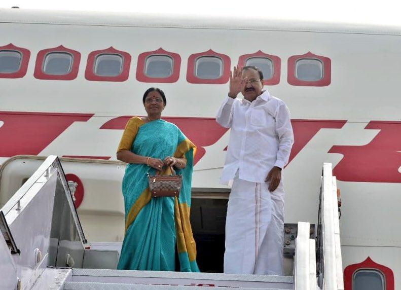 Vice-President Venkaiah Naidu embarks to Paris