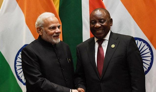 South African President Cyril Ramaphosa with PM Narendra Modi