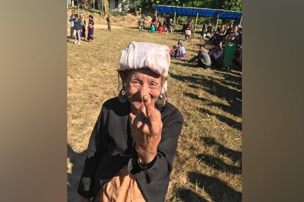 Bru community oldest woman after casting vote
