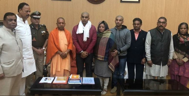 Uttar Pradesh Chief Minister Yogi Adityanath meets the family of inspector Subodh Singh