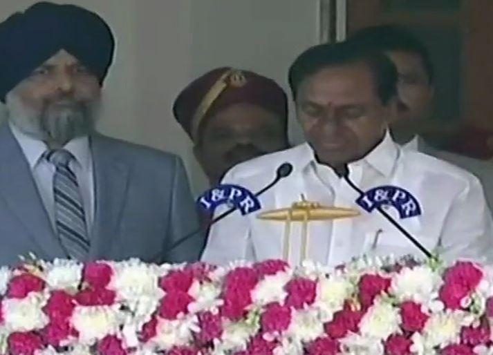 K Chandrasekhar Rao taking oath as the Chief Minister of Telangana