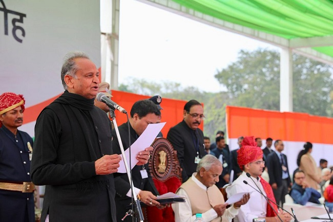 Ashok Gehlot taking oath as the Chief Minister of Rajasthan