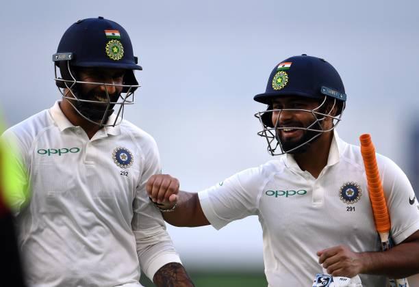 Vihari and Pant afterthe match