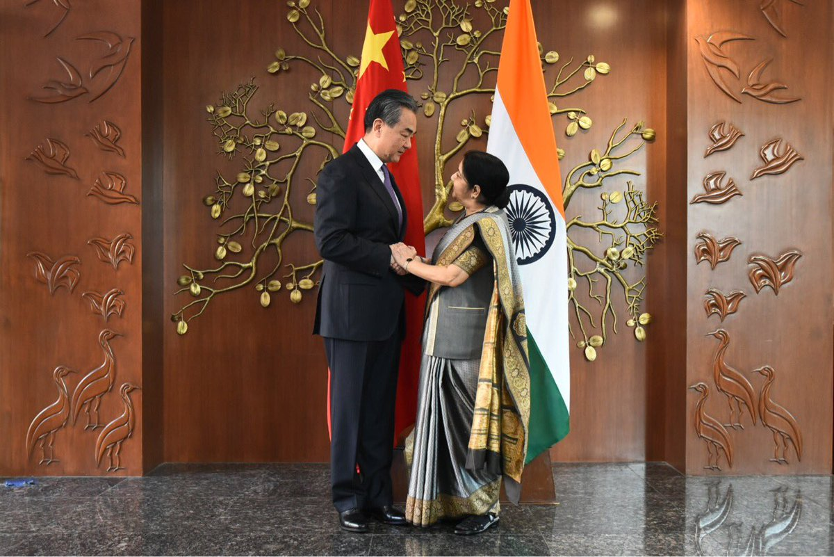 Sushma Swaraj and her Chinese counterpart Wang Yi
