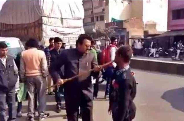 BJP leader Mohammad Miya seen assaulting specially-abled man